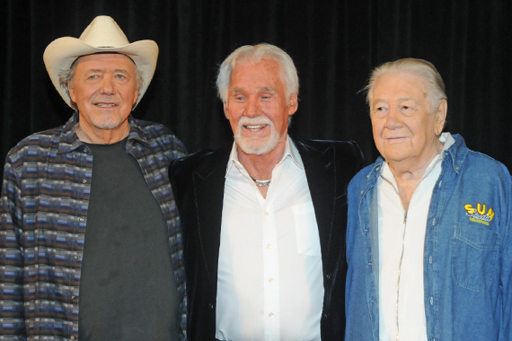 """2013 Country Music Hall of Fame Honorees. Pictured (L-R) Bobby Bare, Kenny Rogers, """"Cowboy"""" Jack Clement."""