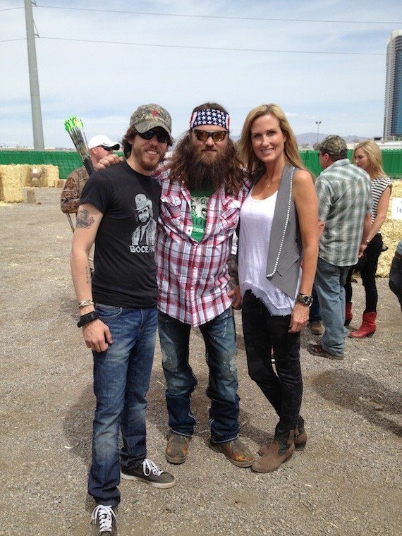 Pictured (L-R): Chris Janson, Willie and Korie Robertson