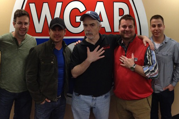 "Blaster Record's Jared Ashley recently visited WGAR in Cleveland for a visit and performance to promote his latest single, ""Last Train To Memphis."" Pictured (L-R): Dave Collins (Blaster Records), Jared Ashley, Charley Connolly (PD, WGAR), Tom Porter (CEO, Blaster Entertainment), Dan Barbera (Management, Blaster)."
