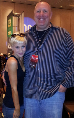 Black River's Kellie Pickler caught up with WXTU/Philadelphia in at the Vegas radio remotes during the ACMs. Pictured (L-R) Pickler, Razz.