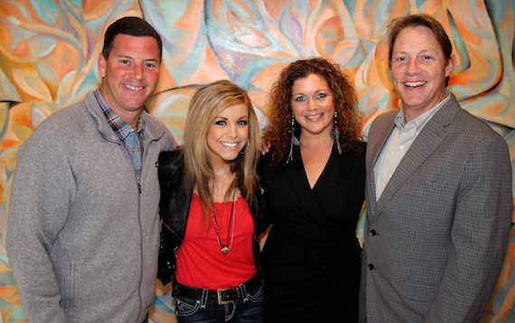 Pictured (L-R): BMI's Mark Mason, Lindsay Ell, Mustang Music Publishing's Juli Griffith, and BMI's Clay Bradley.