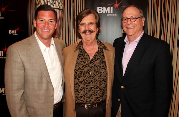 Pictured (L-R): BMI's Mark Mason, Fame Studios' Rick Hall and BMI's Charlie Feldman.