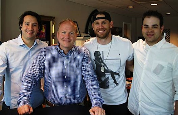 Pictured (L-R): Jacob Fain (Director of A&R, Sony/ATV), Troy Tomlinson  (President/CEO, Sony/ATV Nashville),Chase Rice, Bruce Kalmick (Triple 8 Management)