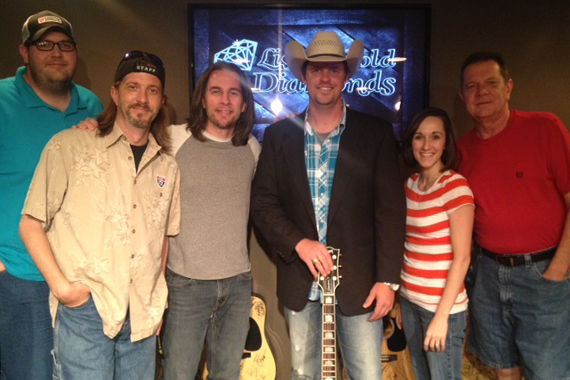 "LandStar Entertainment's Adam Fears visited the staff at WUSY Chattanooga and performed his new single ""There's a Girl Out There."" Pictured (L-R): Cowboy Kyle, Styckman, Gator Harrison, Adam Fears, Melissa Wagner, Bill ""Dex"" Poindexter."