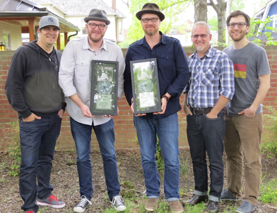 Pictured (L-R): Mike Murray, Creative Director for Integrity Music Publishing; Chris McClarney; Anthony Skinner; Jimi Williams, Director of WorshipTogether; Matt Ewald, Creative Director for Capitol CMG Publishing.