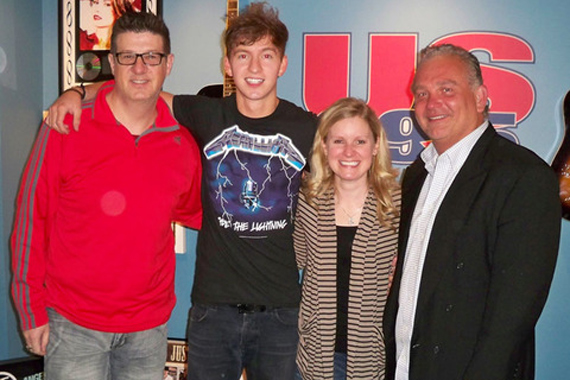 "Streamsound Records' Dakota Bradley made a recent visit to WUSN/Chicago in support of his current single, ""Somethin' Like Somethin,"" available May 14th. Pictured (L-R): Jeff Kapugi (WUSN/Chicago, PD), Dakota Bradley, Marci Braun (WUSN/Chicago, MD) and Mike Culotta (Streamsound)."