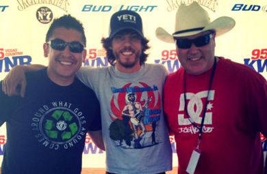 KWNR/Las Vegas' Ransom (R) and Jojo (L) recently visited with Chris Janson before he hit the stage for Country at the Park at Mountain's Edge.