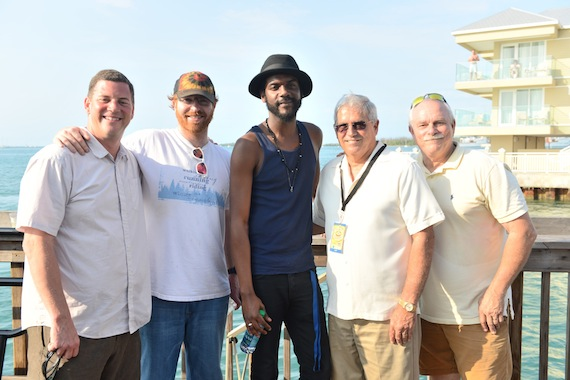 BMI kicked off the 18th Annual Key West Songwriters Festival in sunny Florida on Wednesday, May 1 with a concert featuring Gary Clark, Jr. at the Ocean Key Resort's Sunset Pier. Pictured are (l-r): BMI's Mark Mason; manager Blayne Tucker; Gary Clark, Jr.; Key West Mayor Craig Cates; and Key West Songwriters Festival founder Charlie Bauer. Photo by Nick Doll