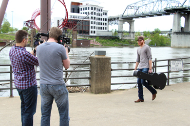 Eric Paslay making the video to announcement all of the 2013 Riverfront performers. Photo: Christian Bottorff.