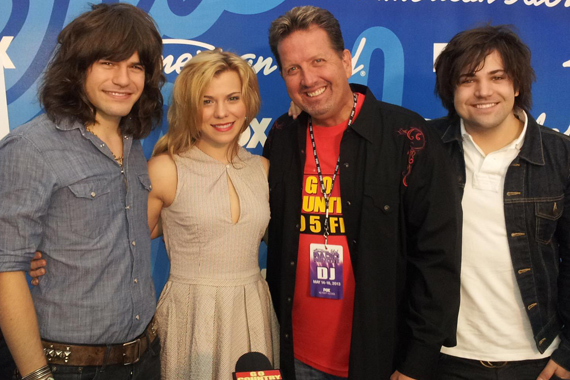The Band Perry visited with KKGO before the finale of American Idol. Pictured (L-R) Reid Perry, Kimberly Perry, Shawn Parr and Neil Perry.