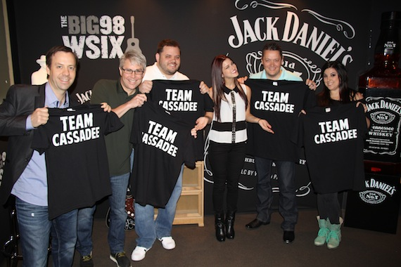 "Pictured (L-R): Republic Nashville's Matthew Hargis, Jimmy Harnen, WSIX's Michael Bryan, Cassadee Pope, WSIX's Anthony Allen and Republic Nashville's Stacy Blytheprove they are ""Team Cassadee"" all the way during a visit to the station."
