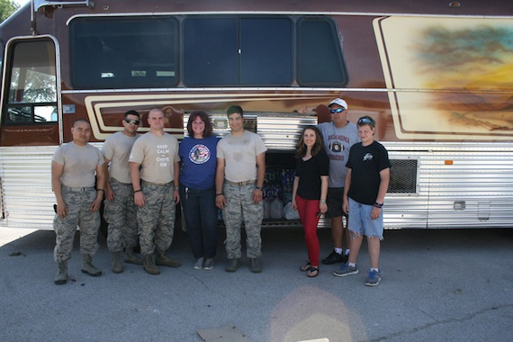 Shawna Russell (third from right) is joined by volunteer relief workers and contributors.