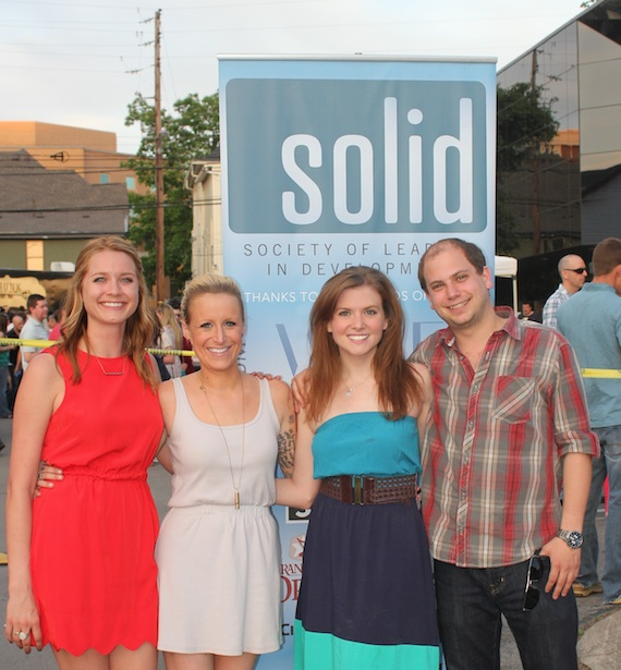 Pictured (L-R): Ashley Kay Hall, SOLID Social Co-Chair, Berkley Myers, Social Committee Crawfish Boil Chair, Sarah McGrady, SOLID President, and Jason Hauser, SOLID Social Chair