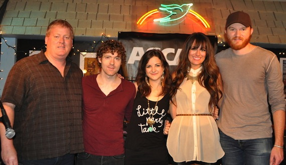 Pictured (l-r): ASCAP's Mike Sistad, Striking Matches' Justin Davis & Sarah Zimmermann, Alyssa Bonagura and Eric Paslay. Photo by ASCAP's Alison Toczylowski.Nashville, Tenn., June 6, 2013: ASCAP celebrated the legendary Bluebird Cafe's 31st birthday and kicked off the 2013 CMA Music Festival with an exclusive showcase featuring Eric Paslay, Striking Matches (Justin Davis & Sarah Zimmermann) and Alyssa Bonagura on Wednesday, June 5th. The June edition of the popular monthly songwriters round leads ASCAP's CMA Music Festival events, which continue with two full days of performances on The Buckle Stage in downtown Nashville on Thursday, June 6th and Sunday, June 9th from 11:00 AM until 4:30 PM.