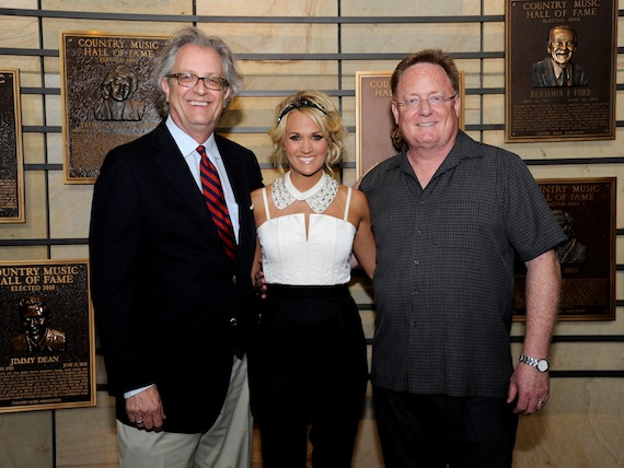 Pictured, from left to right, are Museum Director Kyle Young, Underwood and Chairman/CEO of Sony Music Nashville Gary Overton. Photo by Donn Jones