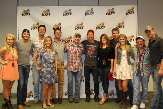 WCKT/Ft. Myers recently held its 3rd annual New Cats of Country. Pictured (L-R): JoJamie Hahr (Valory), Thomas Rhett, Eric Gunderson of Love And Theft, Liz Sledge (RCA), L&T's Stephen Barker Liles, Nixon, Kip Moore, Jeri Cooper (Arista), Brian and Clara Henningsen of The Henningsens, Louie Newman (MCA) and TH's Aaron Henningsen.