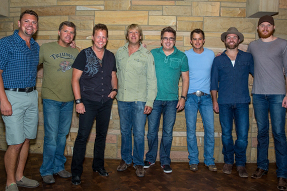 The GAC Kick-off Breakfast. Pictured (L-R): host Storme Warren, Lonestar's Richie McDonald, Dean Sams, Keech Rainwater & Michael Britt; Easton Corbin, Drake White and Eric Paslay. Photo: Matt Blair.
