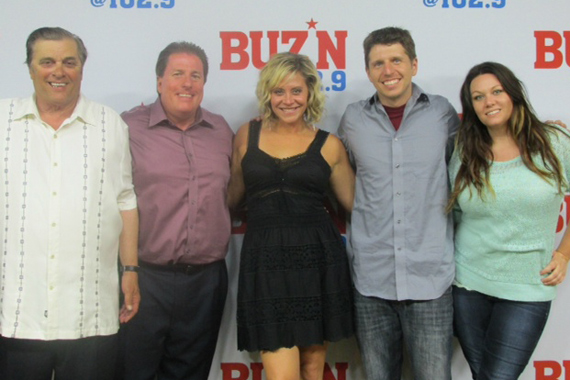 """Flying Island's Gwen Sebastian celebrates her album release and latest single """"Suitcase"""" with the staff of KMNB, Minneapolis. Pictured (L-R): Mick Anselmo (Sr. VP), Rob Morris (PD), Gwen, Tommy Jay (APD), and Tricia Jenkins (MD)."""