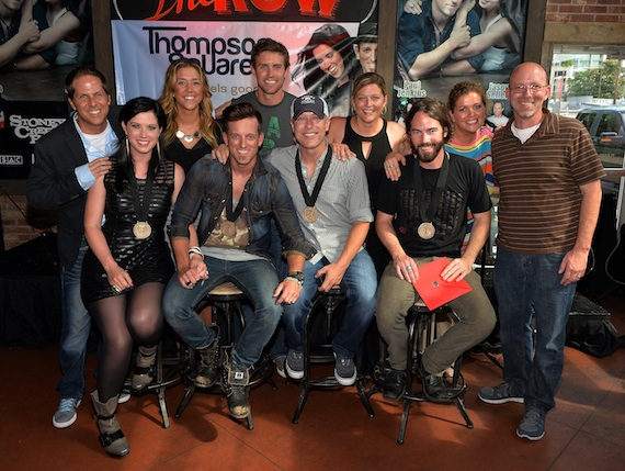 Pictured (front row, L-R): Thompson Square and co-writers Jason Sellers and Paul Jenkins; (back row, L-R): Broken Bow Records' Jon Loba, BMI's Penny Everhard, ASCAP's Ryan Beuschel, SESAC's Shannan Hatch, Magic Mustang Music's Juli Newton-Griffith, and Sony ATV Music Publishing's Terry Wakefield. Photo by Rick Diamond