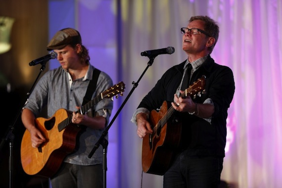 """Steven Curtis Chapman (right) and his son Caleb perform """"Do Everything."""""""