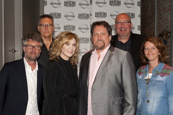 (L-R) Jed Hilly, Executive Director, Americana Music Association; Randy Goodman, Nashville Music Council; Alison Krauss; Jerry Douglas; Jon Brancheau, Vice President/Marketing, Nissan; Lenore Kinder, Talent Buyer, AEG Live /The Messina Group. Photo by Erika Goldring