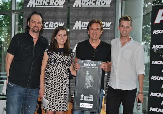 Dann Huff is honored as Producer of the Year by (L-R): MusicRow's Sherod Robertson, Sarah Skates and Eric Parker