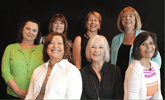 Pictured (Back row L-R): Paula Szeigis, Vickie Arney (Donna Hilley's daughter), Sarah Trahern, Debbie Tenpenny (Donna Hilley's daughter)(Front row L-R): Debbie Fleischer-Robin, Bonnie Rothbaum Garner, Gerrie McDowell. (Honoree Bebe Evans not pictured). Photo: Denise Fussell