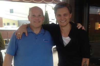 Frankie Ballard visited with WXCY/Wilmington Program Director Dave Hovel, during a trip to Wilmington, MD.