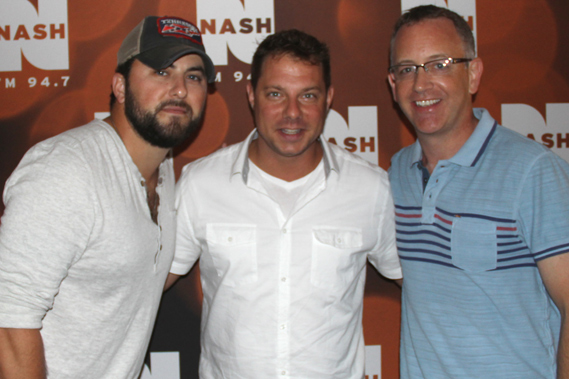 """Columbia Nashville singer-songwriter Tyler Farr made his first ever visit to New York City's WNSH-FM to promote this week's No. 7 single, """"Redneck Crazy."""" Pictured (L-R):  Farr; John Foxx (PD, WNSH-FM) and RJ Meacham (Columbia Nashville's Director of National Promotion)."""