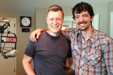 "BE Music & Entertainment's Zane Williams (R) visited with WSM's Bill Cody (L) at their studios in promotion of his new single ""Overnight Success."""