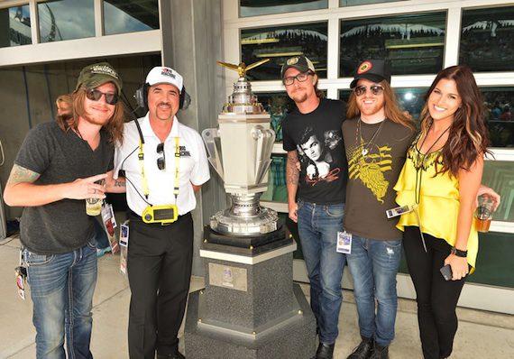 Big Machine Label Group CEO Scott Borchetta, Cassadee Pope, and members of The Cadillac Three at the Brickyard 400.