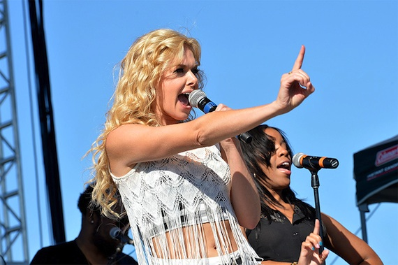 """Laura Bell Bundy performs her single """"Two Step"""" on the Brickfest stage."""