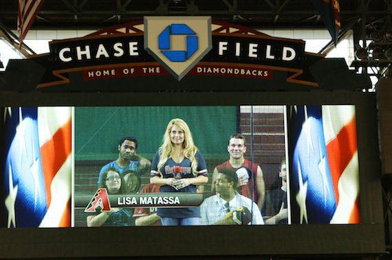 Lisa Matassa performs at Chase Field.