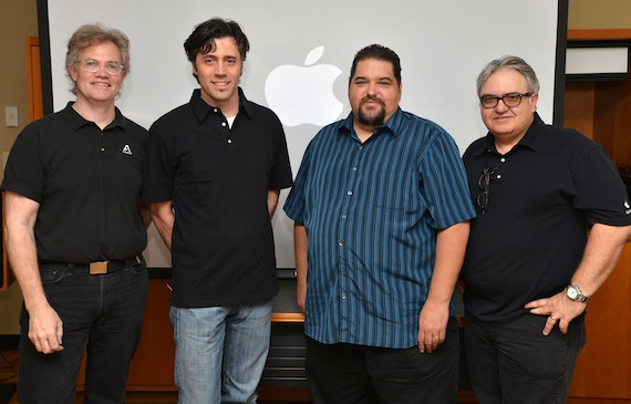 Pictured (L-R): Apogee's Roger Robindoré, Apple's Dan Kee, SESAC's Tim Fink & Apple's Steve Pons. Photo: Peyton Hoge