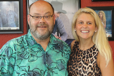 """Independent artist Elizabeth Lyons (R) visited WCOW's Arnie Andrews (L) recently in promotion of her new single and video """"Everything Tonight,"""" written co-written with producer Matt Nolen and Ryan Tyndell. The single also has a music video, which was directed by Mason Dixon."""