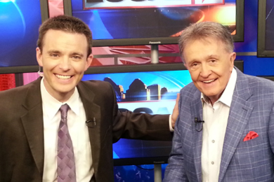 """Country Music Hall of Famer Whisperin' Bill Anderson (R) recently stopped by WKRC-TV in Cincinnati, OH to visit with Bob Herzog (L) about becoming the Honorary Captain of the Red's baseball team on August 24. Anderson wrote """"Cincinnati, Ohio,"""" a hit for Connie Smith in the late sixties, and is currently being sung by the huge crowds at every Red's game this season."""