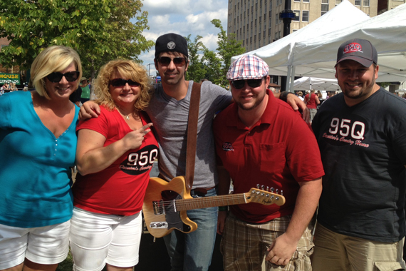 "Chris Cavanaugh took time to visit with 95Q in promotion of his latest single ""I'm All About That"" before playing the Decatur Celebration in Illinois this past weekend (Aug. 4) with David Nail. Pictured (L-R): Kimmy, Trish, Chris, Jared, and Toby Tucker all from 95Q in Decatur."