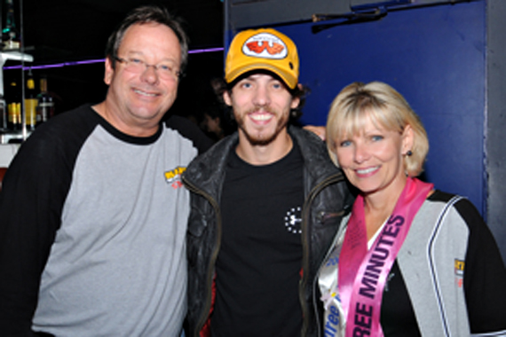 """Chris Janson paid a visit to KRTY to perform his brand new single """"Cut Me Some Slack"""" in a show supporting of the San Jose's annual Avon Breast Cancer Team Event. The Country newcomer will release his Bigger Picture Group CD on September 3. Pictured (L-R)  Nate Deaton (KRTY MD), Chris Janson, Tina Ferguson (and Sales Manager). Photo: Rudy Sabin"""