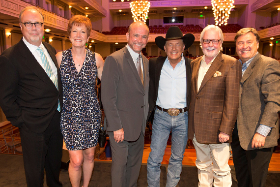 Pictured (L-R): Mike Dungan (Chairman & CEO of UMG Nashville); Amy Smartt (CMA SVP of Finance and Admin and Secretary-Treasurer of the CMA Foundation); Louis Messina (President of the Messina Group); Strait; manager Erv Woolsey;  Lon Heltony (Host of Country Countdown)