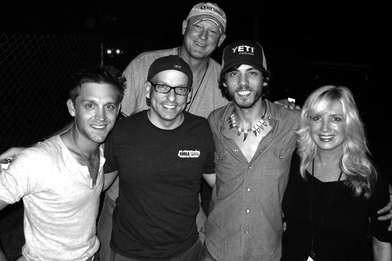 "Bigger Picture Group's Chris Janson recently visited with KMLE about his soon-to-be released single ""Cut Me Some Slack"" before opening for Dierks Bentley at the annual Country Thunder festival (7/19) in Twin Lakes, WI. Pictured (L-R) Front: Justin Moore, Tim Richards (KMLE PD), Janson, Kelly Lynn Janson. Back: Tim Pohlman (KMLE GM)"