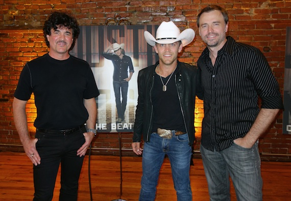 Pictured (L-R): Scott Borchetta, Justin Moore and producer Jeremy Stover at Moore's album listening partyon Monday night in Nashville.