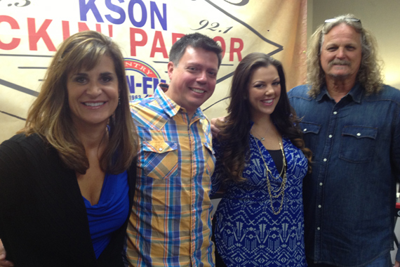 Krystal Keith takes her music to KSON San Diego on the first stop of her radio promo tour.  Pictured (L-R) Lisa Owen (SDU), Kevin Callahan (PD), Krystal Keith and Rick Moxley (SDU)