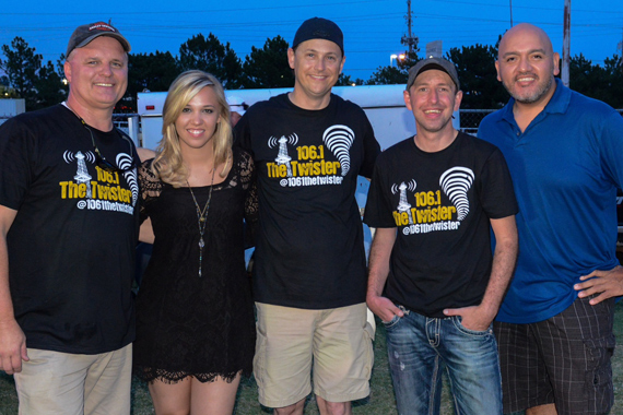 """Sidewalk Records' Morgan Frazier helped CC Tulsa/ KTGX 106.1 The Twister celebrate the station's 1 Year Birthday at a recent concert at Big Splash Water Park with on-air afternoon duo """"Bud and Broadway"""" and several hundred listeners. Pictured (L-R) Jerry Broadway (KTGX), Morgan Frazier, Bud Ford, JJ Ryan (PD), and Roger Fregoso (Sidewalk Records)."""