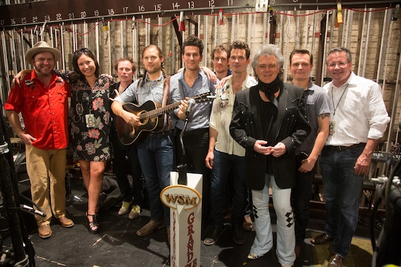 Old Crow Medicine Show, Sally Williams (second from left) Ryman Auditorium, Marty Stuart and Pete Fisher (far right) Grand Ole Opry. Photo: Chris Hollo.