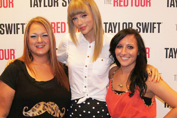 "Before Taylor Swift headed to Los Angeles to perform four sold-out Staples Center shows on her Red Tour, the Big Machine star visited with Vanessa Valli (PD/MD) and Rachel Smith of KWEY at the BOK Center in Tulsa, OK in promotion of her No. 9 single, ""Red."" Pictured (L-R): Vanessa Valli, Swift, Rachel Smith"