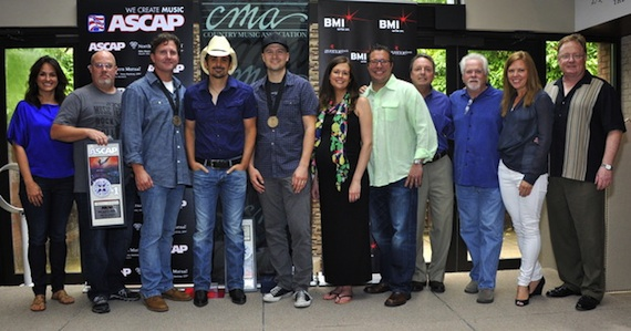 Pictured (L-R): ASCAP's LeAnn Phelan, Sea Gayle's Marc Driskill, Chris DuBois, Brad Paisley, Luke Laird, Creative Nation's Beth Laird, Universal Music Publishing Group's Kent Earls, BMI's Jody Williams, Paisley's manager Bill Simmons, and Sony Music Nashville's Lesly Tyson and Gary Overton. All photos by Frederick Breedon.