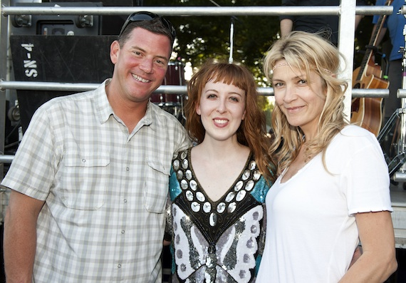 Pictured (L-R): BMI's Mark Mason and Samantha Cox (far right) pause for a photo with singer-songwriter Brooke Waggoner of Nashville.