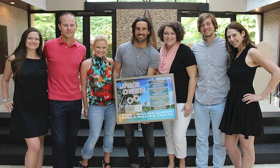 Pictured (L-R):Jennifer Vessio, Sony Music Nashville Director, Media; Brandon Gill, Morris Artists Management Vice President; Brandi Simms, CMA Director of Membership and Balloting; Owen; Betsy Walker, CMA Manager of Membership and Balloting; Brenden Oliver, CMA Coordinator of Membership and Balloting; Jensen Arrowsmith, Sweet Talk Publicity owner and President. Photo Credit: Christian Bottorff / CMA