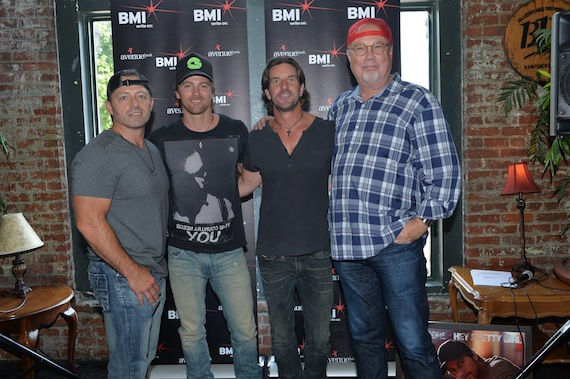 Photo (L-R):: Dan Couch, Kip Moore, Brett James, Mike Dungan. Photo: Rick Diamond