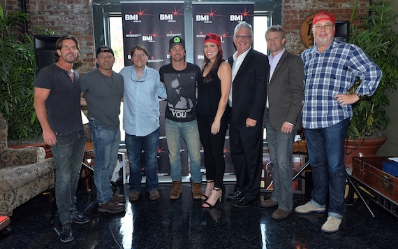 Pictured (L-R): Corn Man Music's Brett James, co-writer Dan Couch, Corn Man Music's Nate Lowery, Kip, MCA Nashville's Miranda McDonald, BMI's Perry Howard, BMG Chrysalis' Kos Weaver and Capitol Records' Mike Dungan.Photographer: Rick Diamond